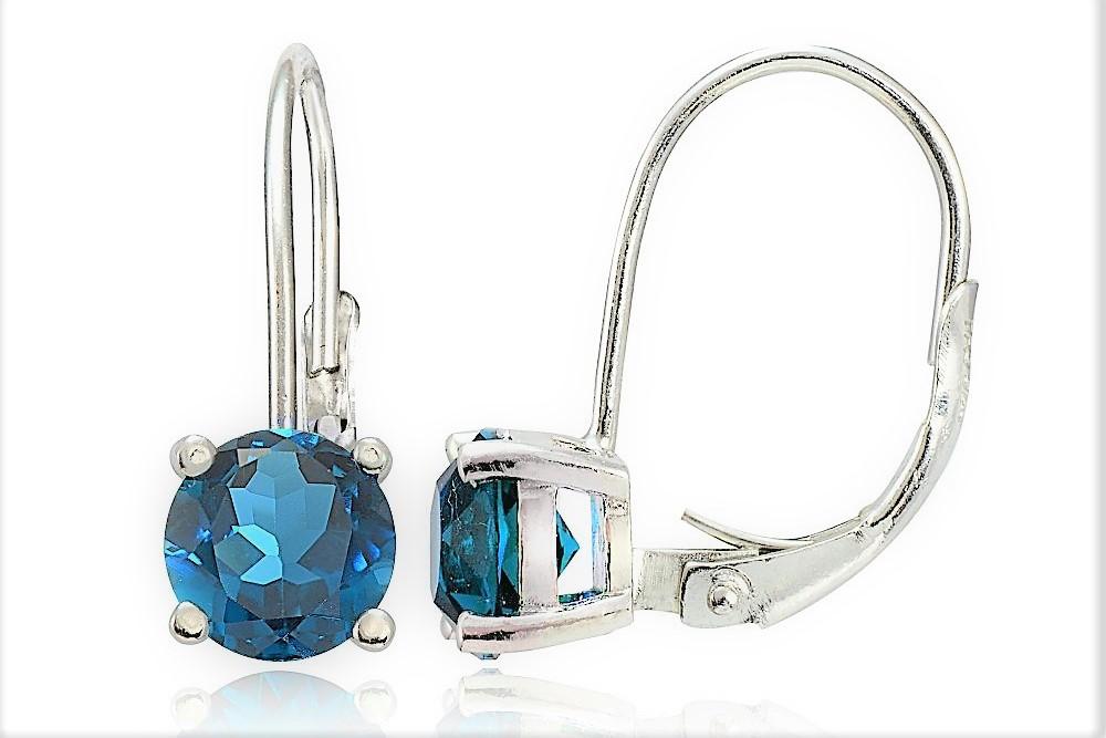Zilā cirkonija auskari