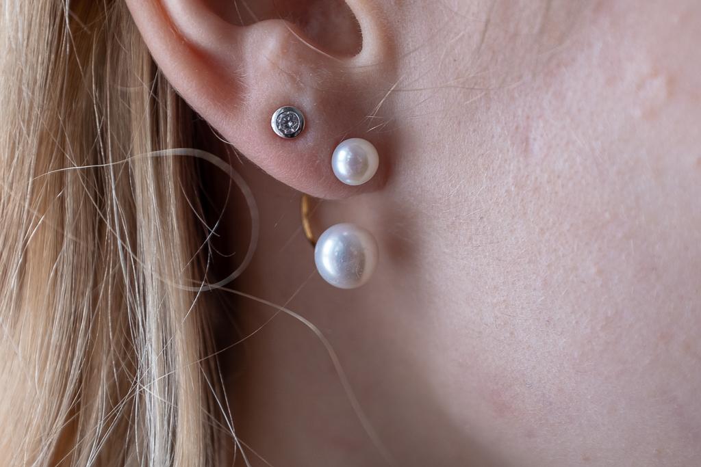 Upes pērļu dubultie auskari