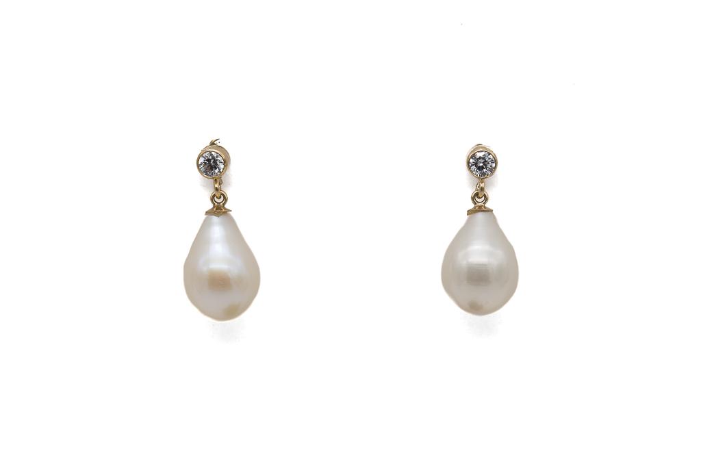 Cirkonijs un AAA pērles - auskari