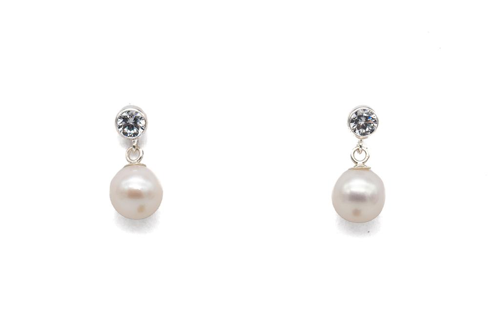 Baltas upes pērles - auskari