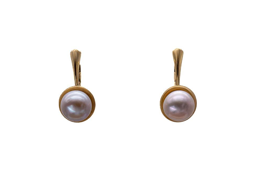 Brūnās pērles, apzeltītie auskari