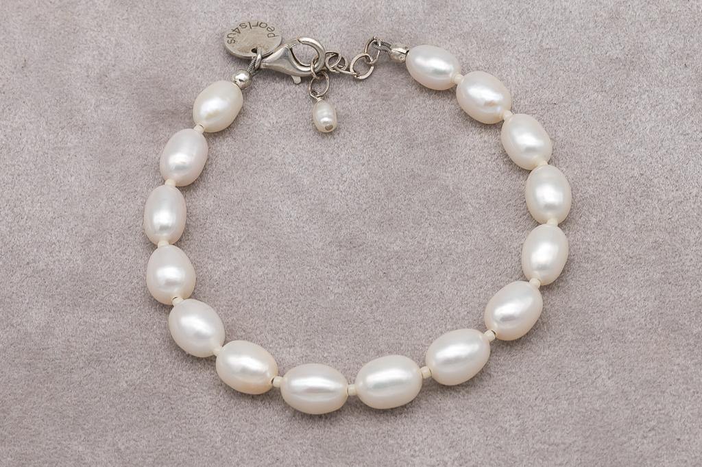 Rīsu formas pērļu rokassprādze