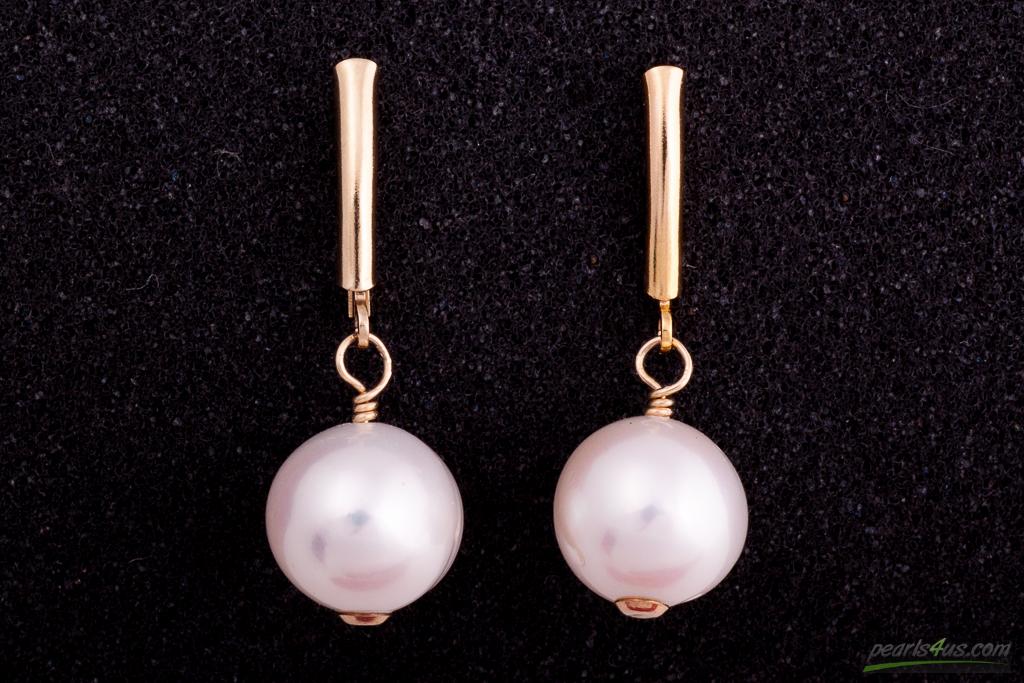 Balto apaļo pērļu auskari ar zeltu