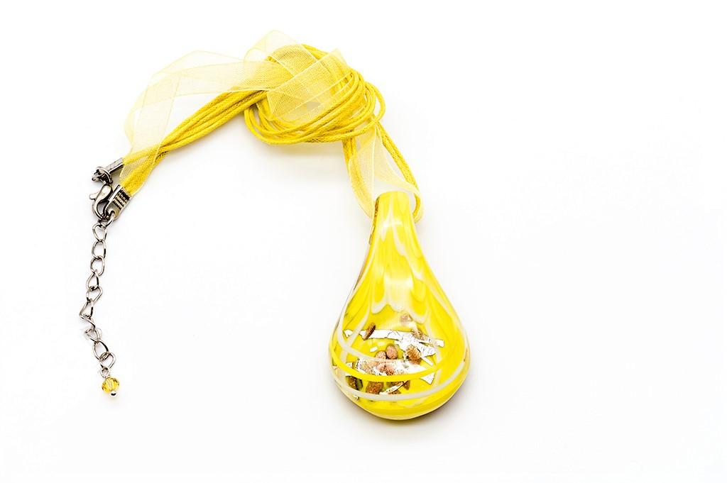 Dzeltenā Venēcijas stikla kaklarota
