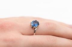Zilais safīrs - gredzens