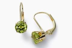 Peridota (olivīna) auskari