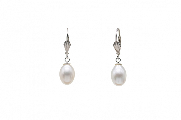 Milky white pearl earrings