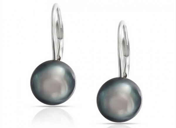 Dark grey pearl earrings