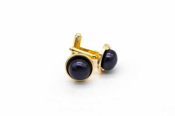 запонки с черным жемчугом