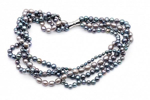 Grey multi strand pearls
