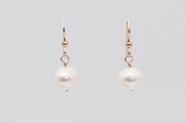 Pearl earrings, gold filled 14k