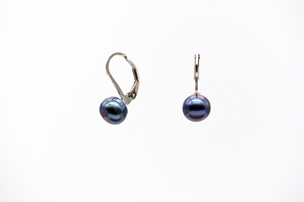 Dark brown leverback pearl earrings