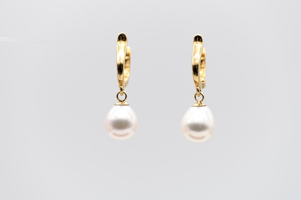 White drop shape Freshwater Cultured Pearl earrings