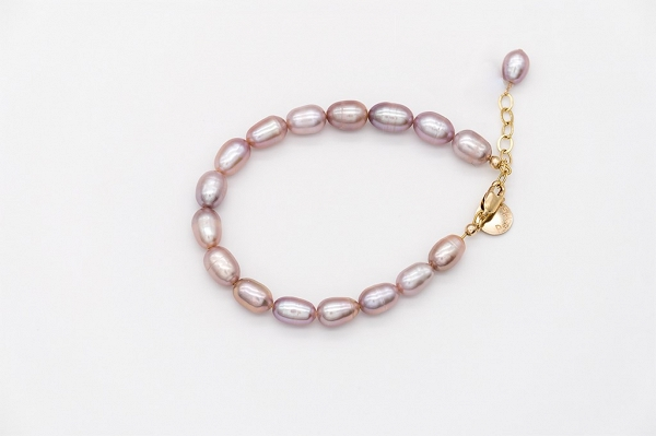 Lavander colour rice shape  pearl bracelet