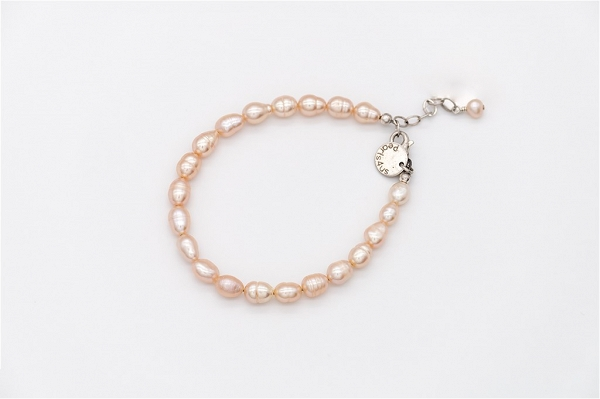 Apricot colour rice pearl bracelet