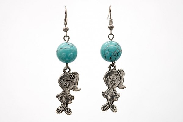 Turquoise imitation bead earrings