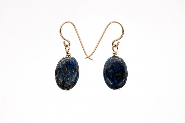 Lapis Lazuri oval earrings, Gold Filled