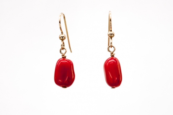 Natural coral earrings with gold