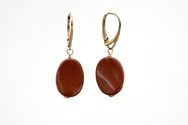 Oval golden sandstone earrings