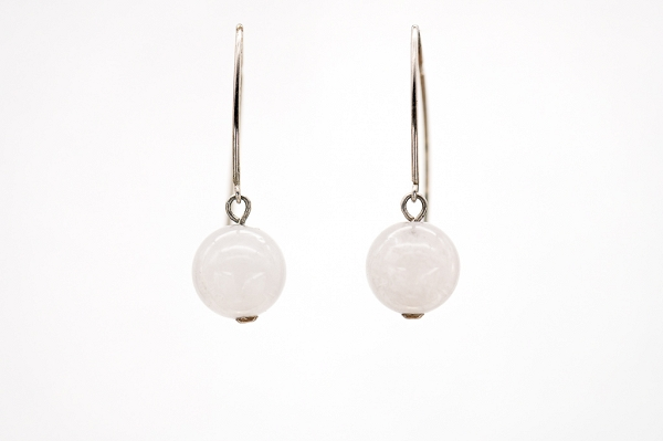 Round Rose Quartz earrings