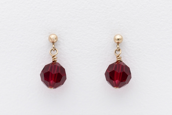 Swarovski earrings- dark red
