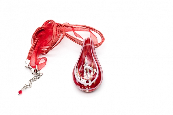 Red Venetian glass pendant