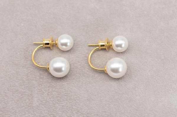 Double pearl earrings - gold plated